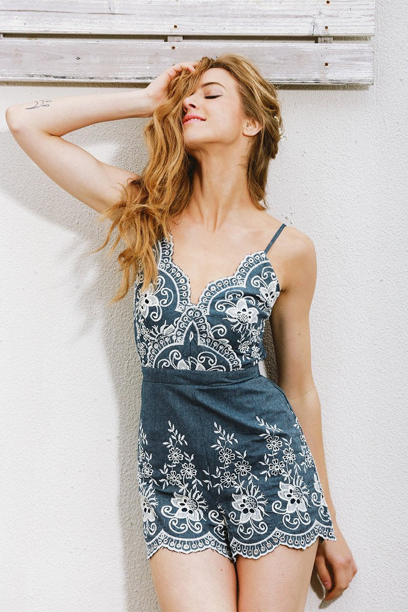 Rompers - Embroidered Chambray Romper