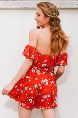 Rompers - Floral Off-Shoulder Romper