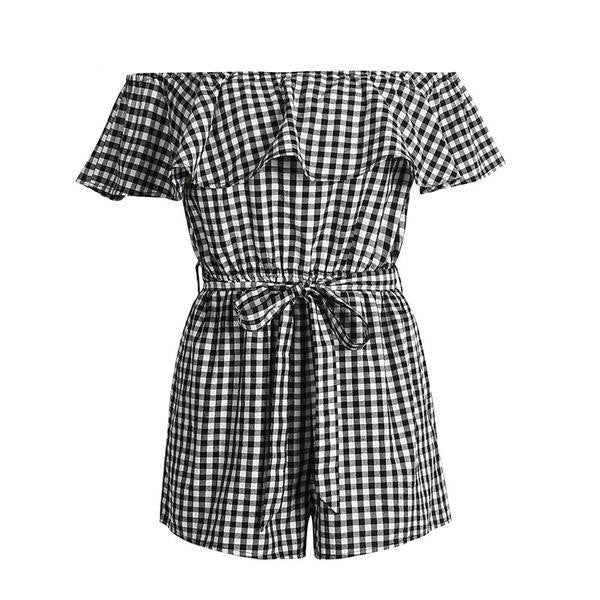Rompers - Gingham Off-Shoulder Romper