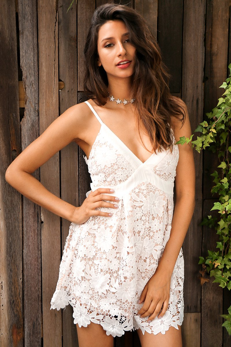 Rompers - Lace V-Neck Romper