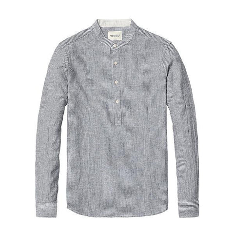 Shirts - Band Collar Linen Pop-Over