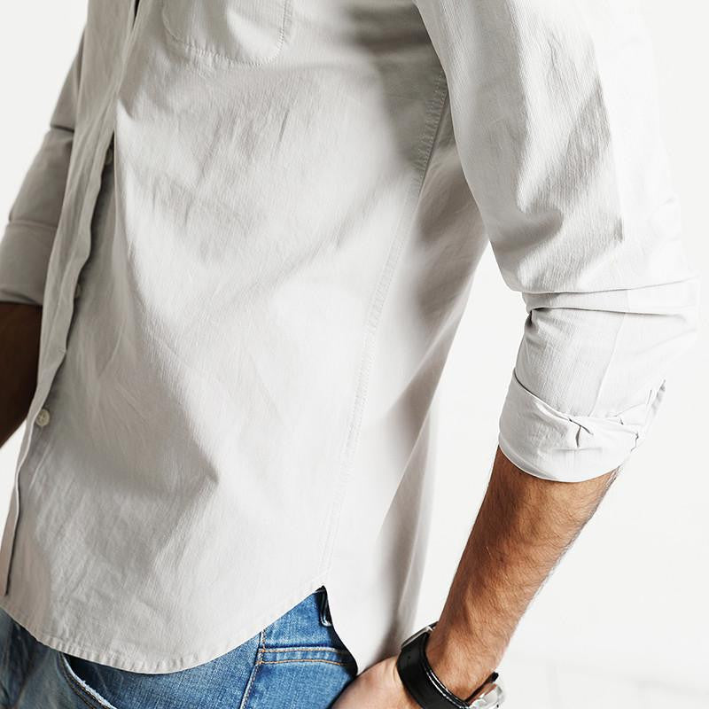 Shirts - Textured Band Collar Shirt