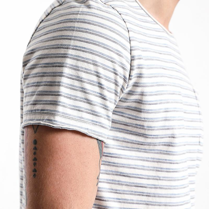 T-Shirts - Bicolored Striped Pocket Tee