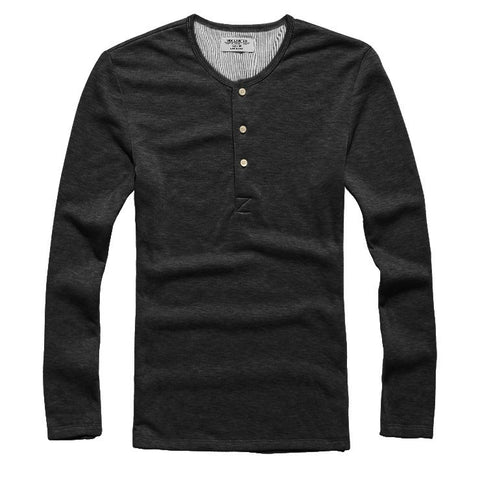 T-Shirts - Temp Control Cotton Lycra Henley Black