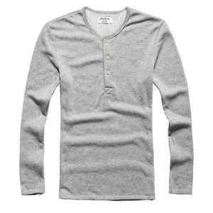 Temp Control Cotton Lycra Henley Grey