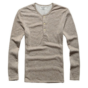 Temp Control Cotton Lycra Henley Tan