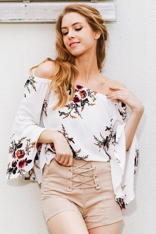 Tops - Floral Flare Sleeve Blouse
