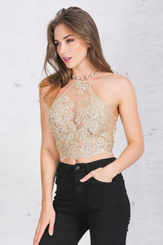 Tops - Lace Halter Crop Top