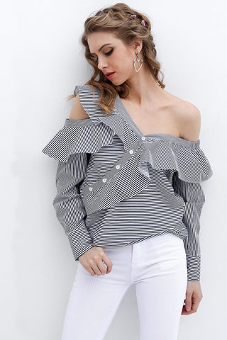 Tops - Off-shoulder Blouse Navy Stripe
