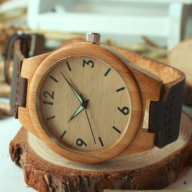 Watches - Bamboo & Leather Watch