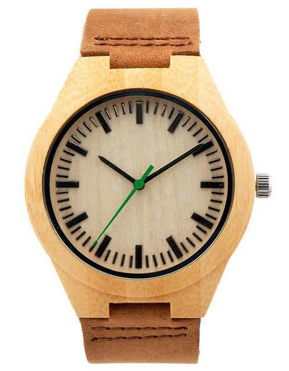 Watches - Bamboo Watch W/ Green Hand