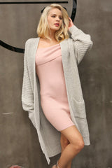 Women's Sweaters - Extra Long Knit Cardigan