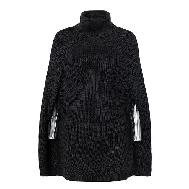 Women's Sweaters - Knitted Turtleneck Poncho