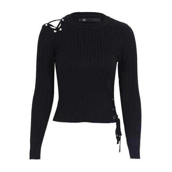 Women's Sweaters - Laced Shoulder Cropped Sweater