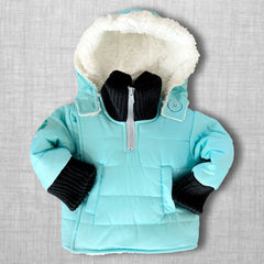Teal With It Buckle Me Baby Coat - front v4