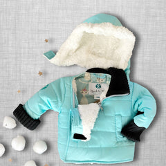 Teal With It Buckle Me Baby Coat - front v2