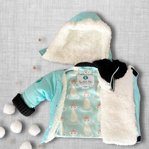 Teal With It Buckle Me Baby Coat - front