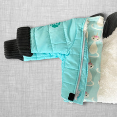 Teal With It Buckle Me Baby Coat - folded