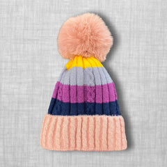 Purple Striped Knit Hat