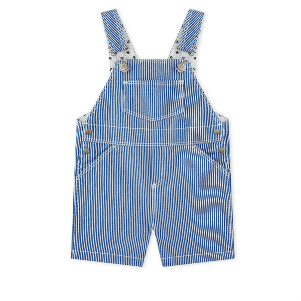 Blue Striped Short Overalls