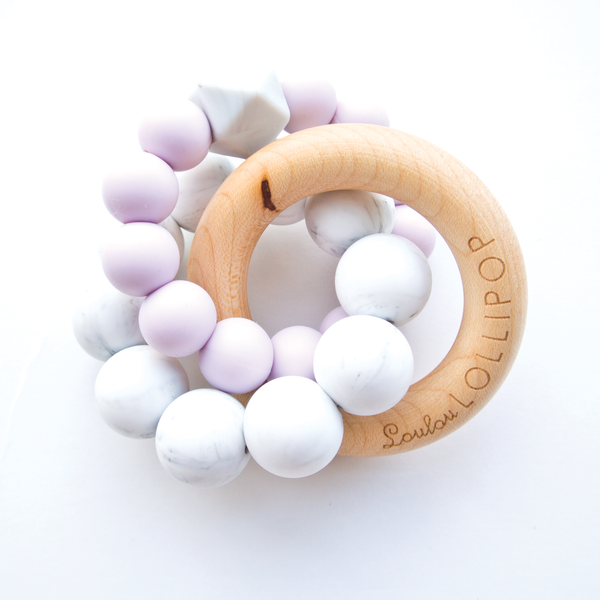 Lilac Trinity Silicone and Wood Teether