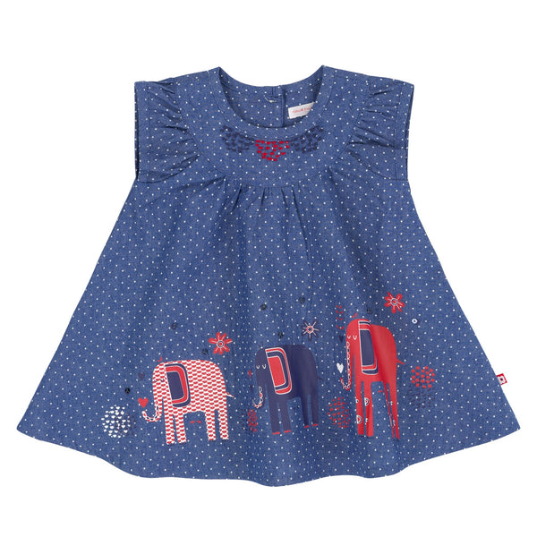 Elephants Printed Chambray Dress