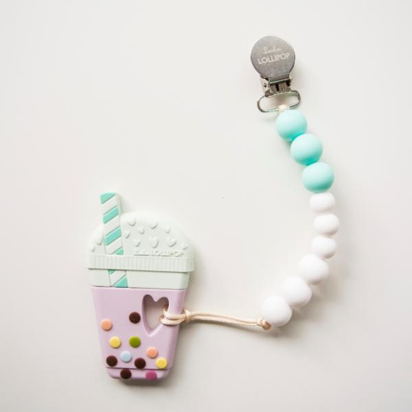 Aqua Bubble Tea Silicone Teether