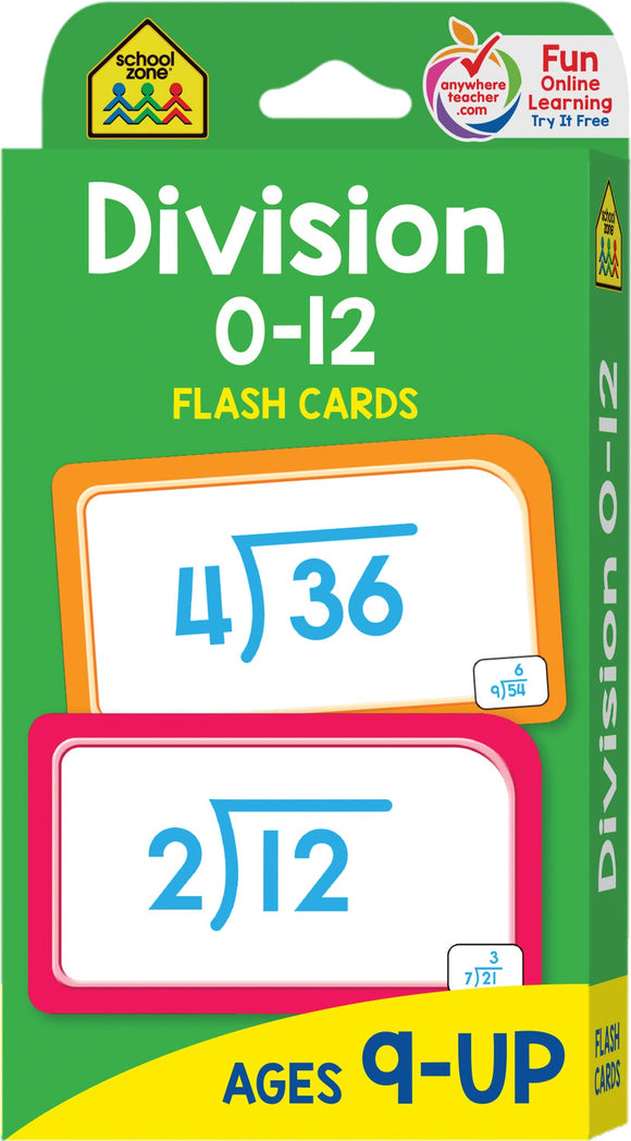 Division 0-12 Flash Cards