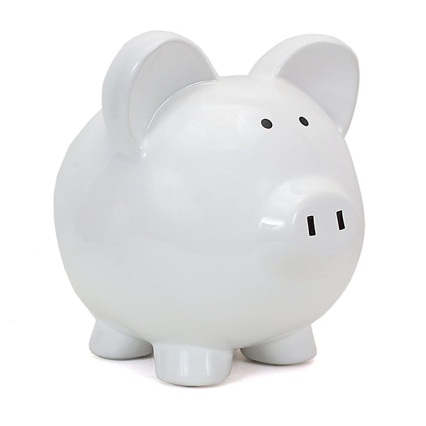 Big Ear Piggy Bank: White