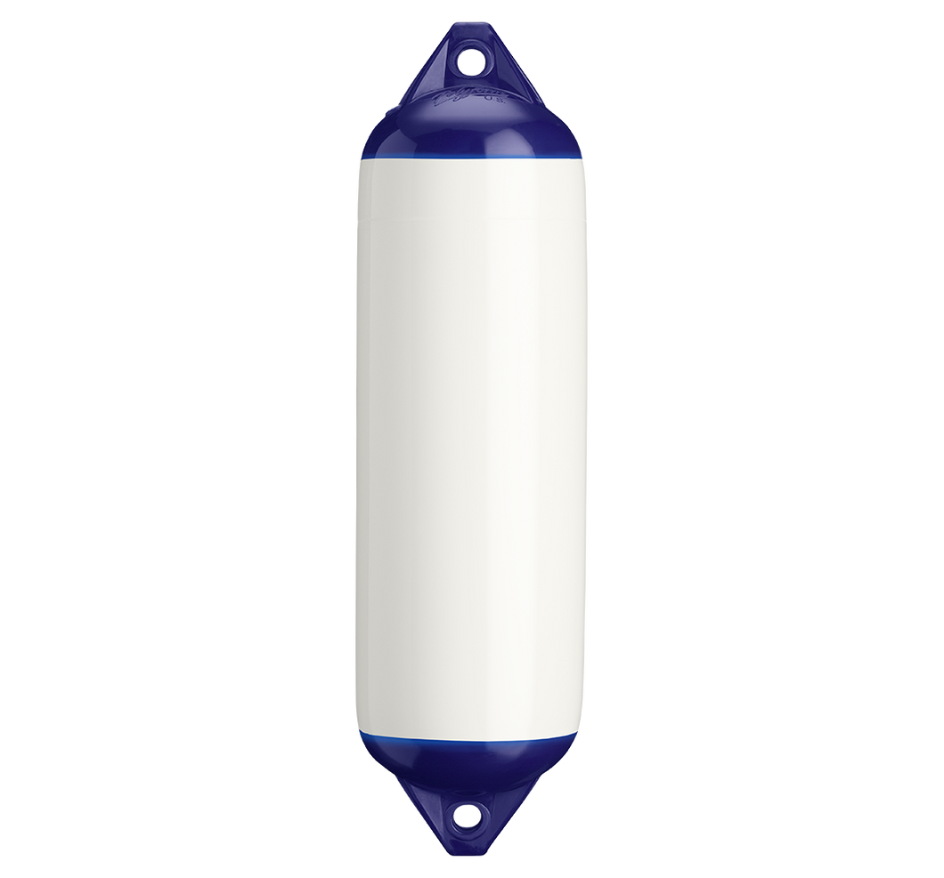 White boat fender with blue top, Polyform F-3 White