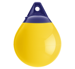 Yellow buoy with blue top, Polyform A-1 YELLOW