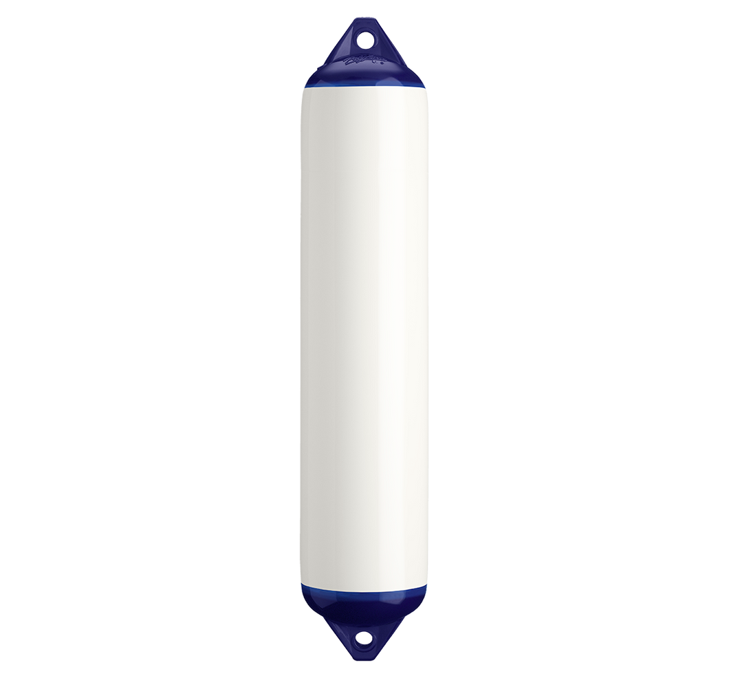 White boat fender with blue top, Polyform F-4 White