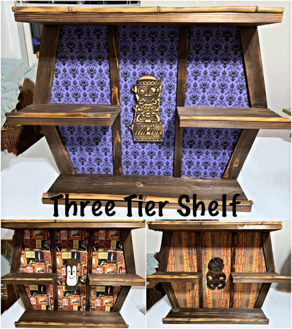 Three Tier Mug Shelf with Carving You Choose Fabric