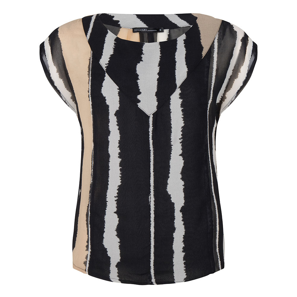 Outdoor stripe korte mouw blouse