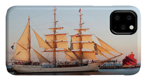 Tall Ship At Sunset - Phone Case