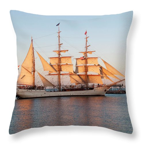 Tall Ship At Sunset - Throw Pillow