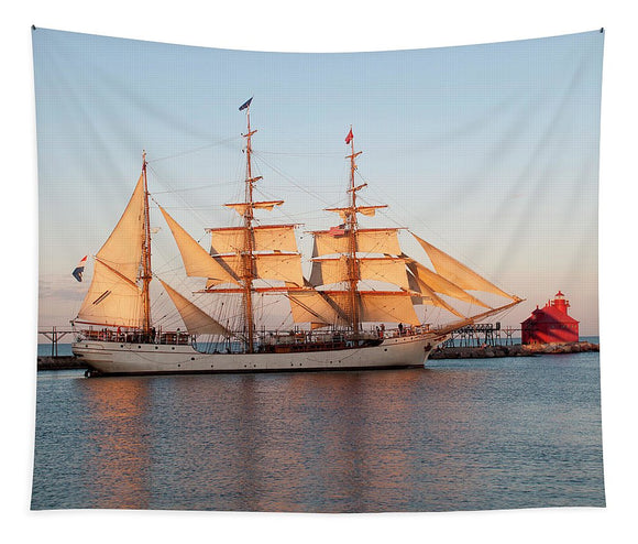 Tall Ship At Sunset - Tapestry