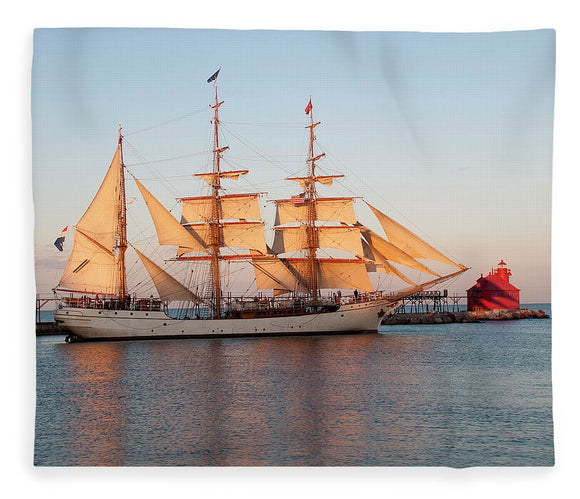 Tall Ship At Sunset - Blanket