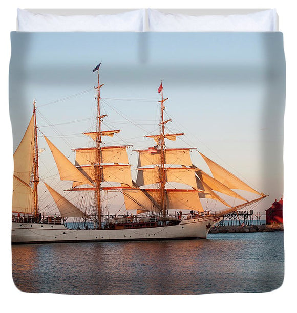 Tall Ship At Sunset - Duvet Cover