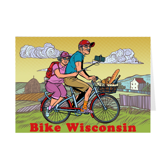 Bike Wisconsin - Couple - Greeting Cards