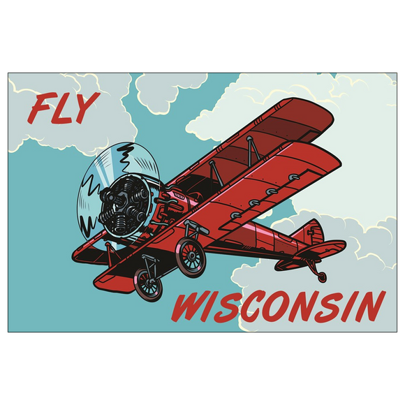 Fly Wisconsin Biplane - 4x6 Postcards