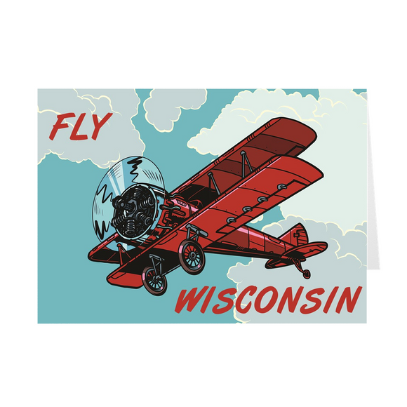 Fly Wisconsin - Red Biplane - Greeting Cards