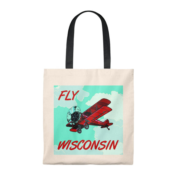 Fly Wisconsin Biplane - Tote Bag - Vintage