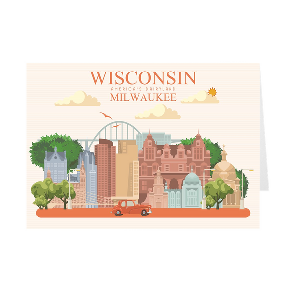 Milwaukee Wisconsin Skyline - Color - Greeting Cards