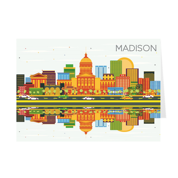 Madison, Wisconsin Skyline - Color - Greeting Cards