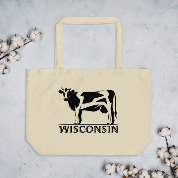 Wisconsin Cow - Large organic tote bag
