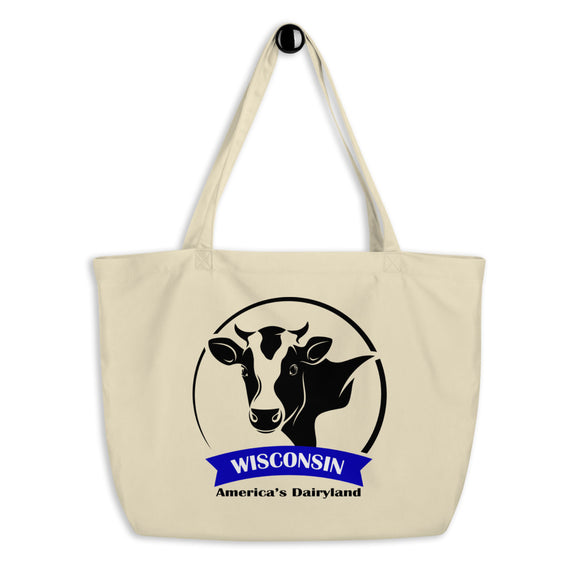 Wisconsin Cow Emblem - Large organic tote bag