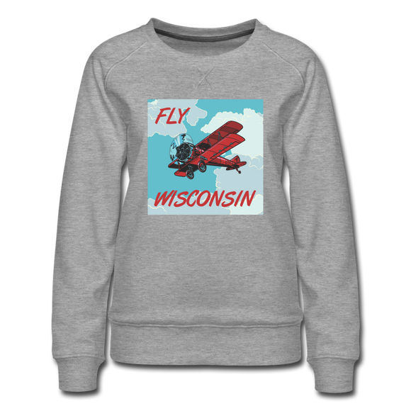 Fly Wisconsin Biplane - Women's Premium Sweatshirt - heather gray
