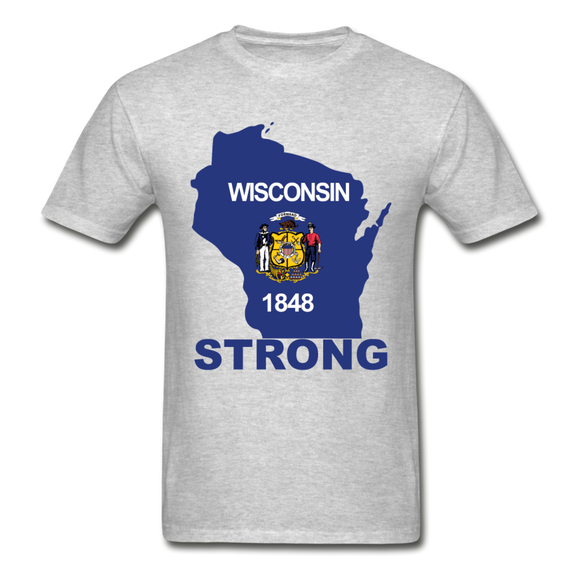 Wisconsin Strong - Hanes Adult Tagless T-Shirt - heather gray
