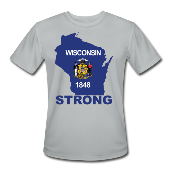Wisconsin Strong - Men's Moisture Wicking Performance T-Shirt - silver